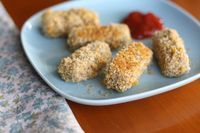 Crunchy baked tofu sticks with whole wheat bread crumbs