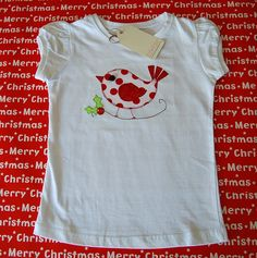 Christmas T-shirt Girls Bird on a Holly Branch Size 6 Only