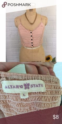 Dusty pink crop top An Altr'd state tank top with button and pompom details. The length hits on your waist which is the perfect length for a cropped shirt *necklace not included* Altar'd State Tops Crop Tops