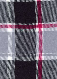 Cotton Flannel Plaid Fabric, Timy Gray/Black - by the yard