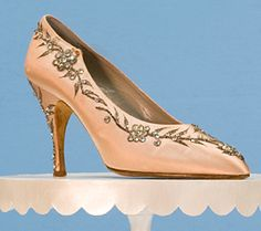 Satin and Rhinestone Evening Pump      Worn by Marlene Dietrich  Roger Vivier for Christian Dior  c. 1950-1959