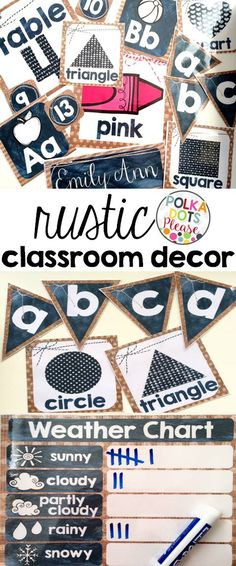 I love this rustic classroom decor with burlap, chalkboard patterns, and twine accents!