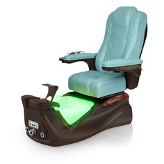 Infinity pedi-spa shown in Neptune Ultraleather cushion, Mocha base, Aurora LED Color-Changing bowl (shown in green)