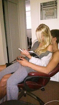 I think this is accurate. Note that the girl is holding her book and the boy has his xbox remote :I