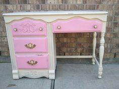 PrEtTy In PiNk - Upcycled - Vintage Wooden Vanity Desk - Shabby  - Drawers - Storage - CHIC. $139.95, via Etsy.