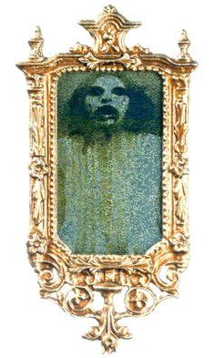 Dollhouse Mini Ghost Mirror Bronze Ornate Frame Ghost in Mirror New #ArtisanMiniatures
