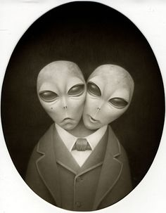 """Travis Louie Paints Old-Timey Alien Characters in """"Watch the Skies""""   Hi-Fructose Magazine"""