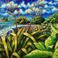 Celebrating New Zealand's coastline and iconic native plants New Zealand Beach, New Zealand Art, Nz Art, Art Diary, Maori Art, Kiwiana, Coastal Art, Surf Art, Ocean Art