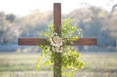 floral cross at the ceremony   Jennings King #wedding