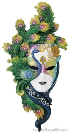 Venetian Mask Wall Plaque - Hand Painted Peacock