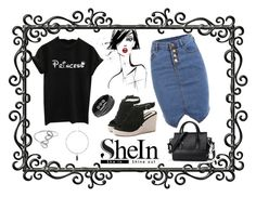 """""""Black Letters Cuffed Tee Shirt"""" by freida-adams ❤ liked on Polyvore featuring art"""