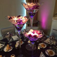Martini glasses centerpieces