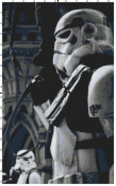 Star Wars, Monochrome side profile of a Storm Trooper by QuirkyStitcher, £3.50