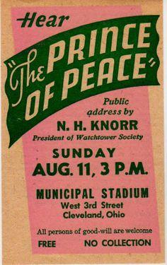 Watchtower ORIGINAL 1946 Glad Nations Theocratic Assembly Handbill Knorr Mint!