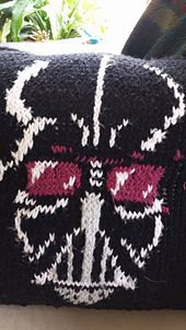 """FREE Darth Vader Intarsia pattern from YellowRibbonCrafts.com May the """"intarsia"""" force be with you."""