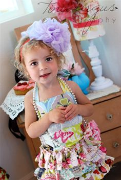 Pink Ruffled French Child Apron with Rosette Pick your Size. $30.00, via Etsy.