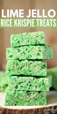 These Lime Jello Rice Krispies treats are easy to make and perfect for St Patrick's Day or any time you want a fun green-colored treat. The lime jello adds a flavorful twist to the classic favorite st patricks day dinner Lime Jello Rice Krispies Treats Rice Krispy Treats Recipe, Rice Crispy Treats, Krispie Treats, Yummy Treats, Delicious Desserts, Oreo Dessert, Dessert Recipes, Fudge Recipes, Lime Jello Recipes