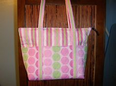12 pocket quilted purse pink/green by starlenedesigns on Etsy, $35.00
