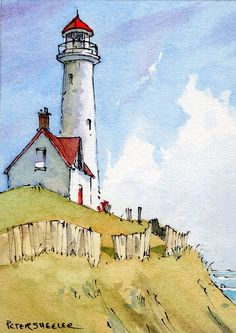 Watercolor Painting Techniques, Watercolor Sketchbook, Watercolor Illustration, Painting & Drawing, Pen And Watercolor, Watercolor Architecture, Watercolor Landscape Paintings, Landscape Art, Lighthouse Drawing