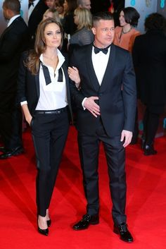 Angelina Jolie and Brad PItt | All The Fashion At The 2014 BAFTAs - I LOVE her suite!!!