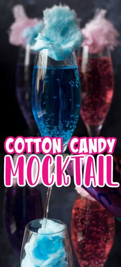 Candy Alcohol Drinks, Cotton Candy Drinks, Mixed Drinks Alcohol, Drinks Alcohol Recipes, Kid Drinks, Frozen Drinks, Summer Drinks, Disney Drinks, Mocktail Drinks