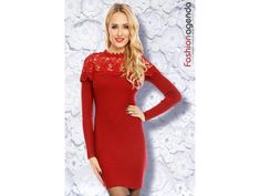 Rochie tricotata rosie cu dantela Ava Cold Shoulder Dress, Dresses With Sleeves, Long Sleeve, Fashion, Tricot, Moda, Sleeve Dresses, Long Dress Patterns, Fashion Styles