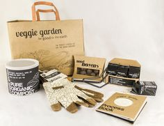 Create a multi-package vegetable gardening kit for an imagined client. This garden kit is geared towards city folk or the modern urban gardener. Organic Compost, Organic Gardening, Seed Starter Kit, Rice Packaging, Herb Garden Kit, Plant Projects, Curated Gift Boxes, Tomato Cages, Flower Farm