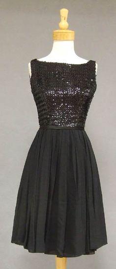 Sparkling Black Sequins & Floating Chiffon 1960's Cocktail Dress