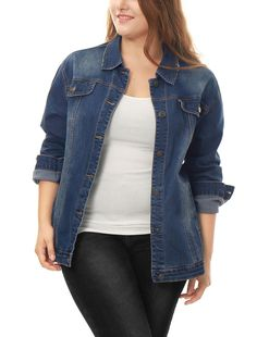 b913df54042 uxcell Women s Plus Size Button Down Washed Denim Jacket with Chest Flap  Pocket