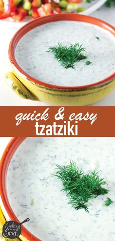 Quick and Easy Tzatziki Sauce! Made with Greek yogurt, dill, cucumbers, lemon, and garlic. This easy tzatziki sauce is delicious and perfect for any Mediterranean dish Source by cookingformysoul Greek Cucumber Sauce, Greek Yogurt Sauce, Cucumber Yogurt, Greek Yogurt Recipes, Tzatziki Sauce Recipe Greek Yogurt, Tzatziki Sauce Recipe Easy, Mediterranean Garlic Sauce, Mediterranean Dishes, Amigurumi