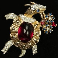 Trifari 'Alfred Philippe' Ruby Cabochon Turtle Carrying Flowers Pin | eBay