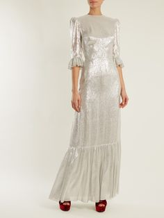 The Vampire's Wife Festival ruffled silk-blend gown