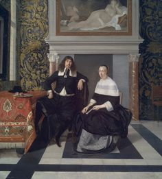Portrait of a Man and Woman in an Interior, painted about 1666, by Eglon van der Neer (Dutch, 1634–1703). Oil on panel. Museum of Fine Arts, Boston. Seth K.