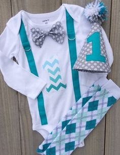 Cake Smash, Baby Boy 1st Birthday Outfit - Bodysuit with Gray with White Circles  Bow Tie, Number One in Turquoise Shades Chevron on Etsy, $24.00