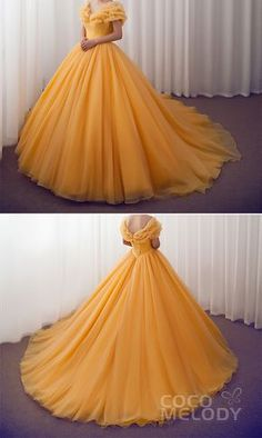 long prom dresses Two Piece Bridesmaid Cinderella Meets with Beauty and the Beast to Take The Original Style to the Next Level! Who's a Disney Lover too weddingdresses Cinderella customdresses cocomelody beautifulquinceaneradresses Quince Dresses, Ball Dresses, Evening Dresses, Formal Dresses, Yellow Wedding Dresses, Disney Ball Gown, Ball Gown Prom Dresses, Long Prom Gowns, Pageant Dresses