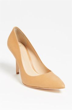 $278, Tan Leather Pumps: AERIN Rin Fira Pointy Toe Pump Tan 55 M. Sold by Nordstrom. Click for more info: https://lookastic.com/women/shop_items/67170/redirect