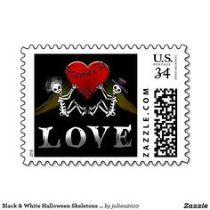 Visit: http://jagifts.us/HalloweenSkeletonsHeartLoveStamp1 - Black & White Halloween Skeletons with Heart LOVE Postage Stamp by Julie Alvarez Designs. A whole collection of matching wedding invitations and designs are available. #halloweenwedding #skeletons #gothicwedding