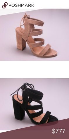 Suede Sandal Heels - Beige New with box | Faux suede | Ties at the back | Heel: 4"