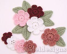 8 Rose Mix Crochet 6-Petal Flower Embellishments Scrapbook Applique (402-2)