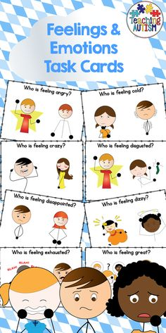 Feelings, Emotions, Task Cards  This download includes 50 different individual task cards. Each task card asks students to select/point to a certain emotion. Students have two different emotions/feelings pictures to choose from.  It is a great resource for students to be able to recognise and learn about different feelings/emotions.  Instructions; Print out each page, cut out the task cards individually, I recommend laminating for prolonged/future use.
