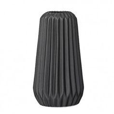 Bloomingville Vase Geometric schwarz - geometrische Blumenvase aus Porzellan