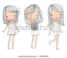 cute baby kids - stock vector