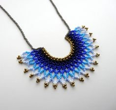 Peyote beaded Gradient Blue Mexican HALF MOON Necklace handmade by Luciana Lavin Beaded Jewelry Patterns, Handmade Jewelry Designs, Handmade Beads, Handmade Necklaces, Seed Bead Jewelry, Bead Jewellery, Cute Jewelry, Half Moon Necklace, Pony Beads