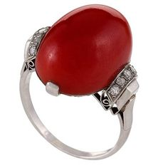 French Art Deco Red Coral, Diamond and Platinum Ring 1 Art Deco Diamond Rings, Art Deco Ring, Art Deco Jewelry, Fine Jewelry, Jewellery, Platinum Ring Price, Platinum Diamond Rings, Diamond Cuts, Coral Ring