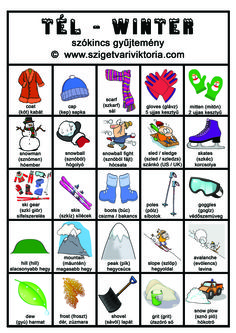 Szigetvári Viktória - Angol téli szókincs gyűjtemény - angol nyelvtan, angol tanulás English Study, Learn English, Posh English, Picture Dictionary, English Phrases, Teaching English, Holidays, Learning, School