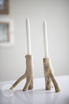Natural Shabbat candlesticks made from branches. Jewish Holiday Inspirations