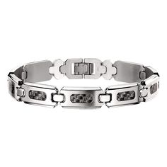 Men's STEL Stainless Steel Bracelet with Carbon Fiber Inlay Accent