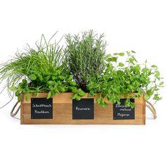 Kräuterbox mit Tafel aus Akazie FSC® 100%, ca L:58cm x B:26cm x H:12cm, natur