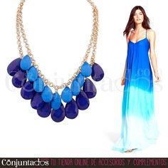 El #collar dorado con lágrimas en dos tonos de azul, klein y navy, es perfecto para llevar con vestidos veraniegos vaporosos, prendas denim o de temática marina ★ 12,95 € en http://www.conjuntados.com/es/collar-dorado-con-lagrimas-en-azul-klein-y-navy.html ★ #novedades #necklace #conjuntados #conjuntada #joyitas #lowcost #jewelry #bisutería #bijoux #accesorios #complementos #moda #fashion #fashionadicct #picoftheday #outfit #estilo #style #GustosParaTodas #ParaTodosLosGustos