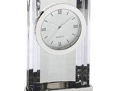 Personalized Free Engraving Crystal Desk Clock  Executive Office Graduation Retirement Birthday Coach Coworker Employee Appreciation Wedding